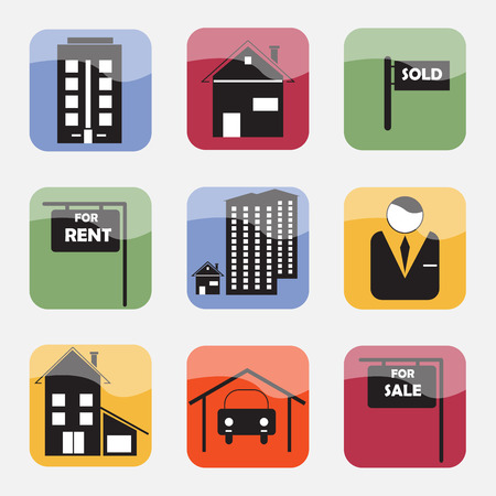 housing problems: Real estate icons Illustration