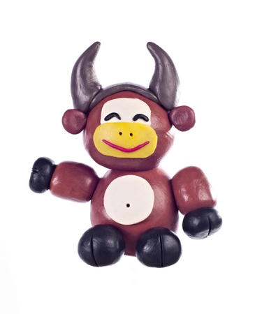 in ox: Plasticine ox. Symbol of oriental calendar Stock Photo