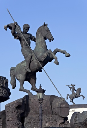 slaying: Monument of St George Slaying the Dragon, Moscow Stock Photo