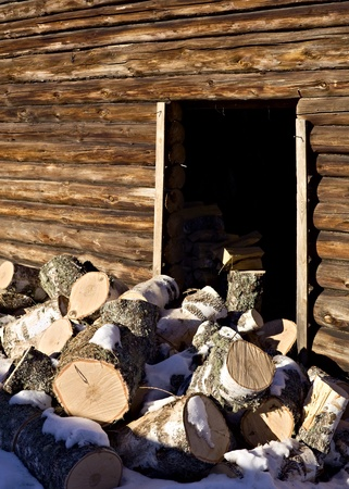 timbered: Heap of logs at the timbered wall