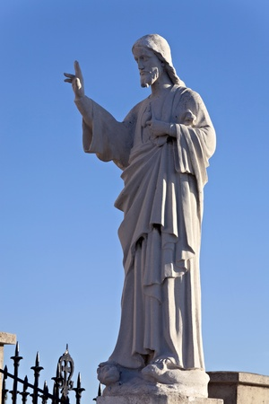 garde: Statue of Jesus Christ at the Notre-Dame de la Garde, Marseille, France