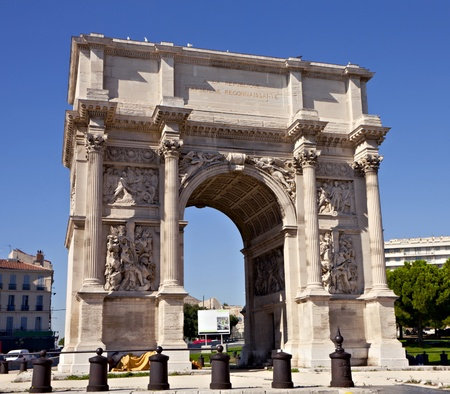 triumphal: Porte Royale - triumphal arch in Marseille, France Stock Photo