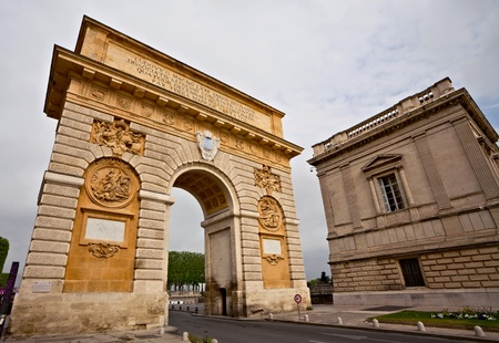 Triumphal arch, Montpellier, France, Built in 1692 by Charles-Augustin Daviler to the glory of Louis XIV  Stock Photo