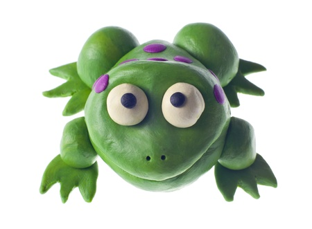 child's play clay: Funny plasticine frog Stock Photo