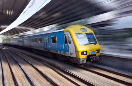 railways: High-speed train in motion, Kuala Lumpur, Malaysia Stock Photo
