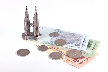 Petronas twin towers and malaysian money photo