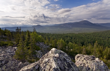 urals: Cloudscape over mountains, South Urals, Russia