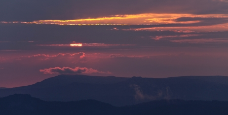 urals: Sunset over mountains, South Urals, Russia Stock Photo