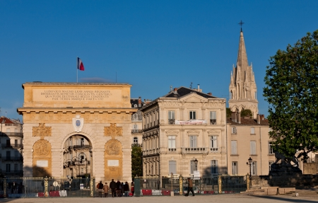 Triumphal arch in Montpellier, France, Built in 1692 by Charles-Augustin Daviler to the glory of Louis XIV  Stock Photo