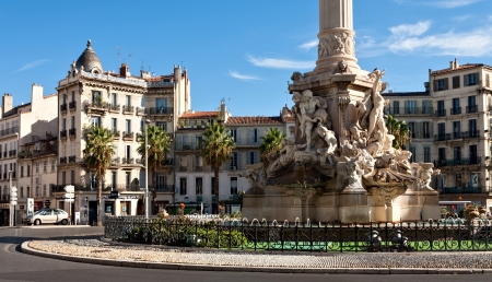 Fountain de Cantini at the Place Castellane in Marseille, FranceThe fountain was sculpted between 1911   1913  The items sculpted into the marble are meant to represent the journey to the Mediterranean sea from the Rhine River  photo