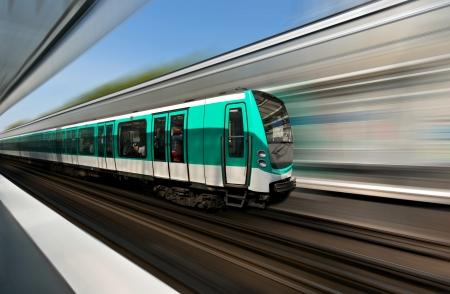 Fast motion of Paris metro train Stock Photo
