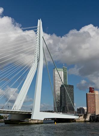 maas: Erasmus bridge and skyscrapers of Rotterdam, Netherlands