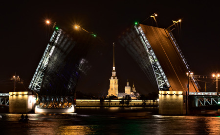 timelapse: Night view of Palace Bridge in Saint-Petersburg, Russia Editorial