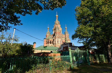 petergof: Cathedral of Peter and Pavel in Petergof, Russia. was built in 1904 Stock Photo