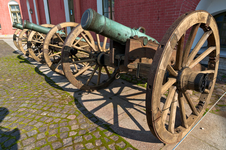 wheel barrel: Old guns of Peter and Paul fortress in Saint-Petersburg, Russia Editorial