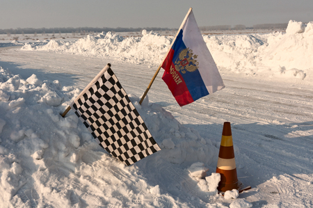 chequered flag: Chequered flag at ice-racing finish point