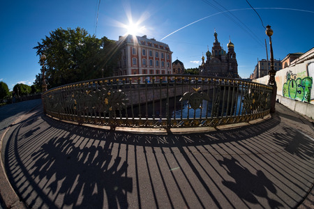 tripartite: Theatre Bridge on Griboyedov Canal, Saint-Petersburg, Russia