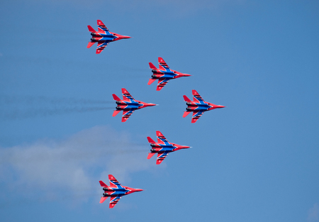 MAGNITOGORSK, RUSSIA - July 14: Russian aerobatic display team Swifts in Magnitogorsk, Russia on July 14, 2017 Stock Photo - 83117956