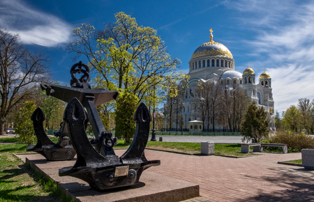 Naval Cathedral of Saint Nicholas and Anchor memorial sign in Kronstadt, Russia Stock Photo
