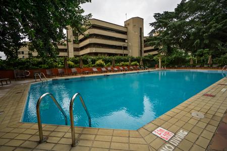 LAGOS, NIGERIA - August 14: Swimming pool at Sheraton hotel in Lagos, Nigeria on August 14, 2017 Editorial