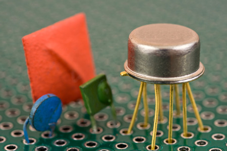 Vintage electronic components on printed circuit board