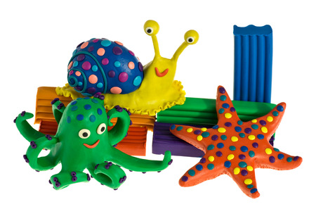 Funny plasticine animals - Snail, Octopus and Sea Star