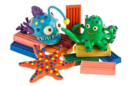 Funny plasticine animals - Anglerfish, Octopus and Sea Star