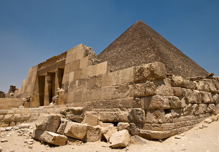Pyramid of Cheops and entrance to tomb, Giza, Egypt Stock Photo