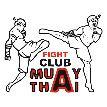 Image of two fighters of Thai boxing. The left fighter beats with a knee in a jump, the right fighter hits with a leg into the head. Vector illustration. 일러스트