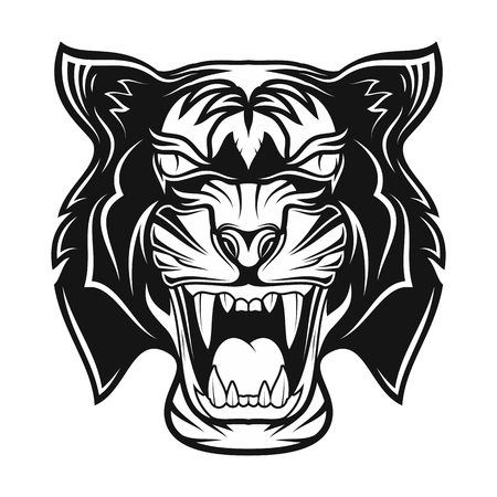 Tiger in rage. Grin of a predator. Black tribal tattoo. Vector image of the head of a tiger. Vector illustration.