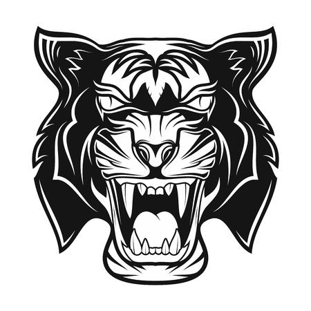 Tigre en colère. Sourire d'un prédateur. Tatouage tribal noir. Image vectorielle de la tête d'un tigre. Illustration vectorielle.