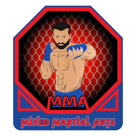 Vector drawing of the fighter of mixed martial arts.