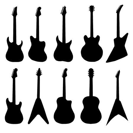 big set of acoustic guitars and electric guitars.