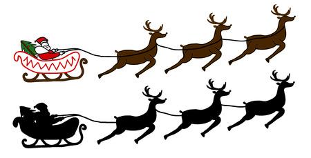 papa noel en trineo: Pap� Noel est� volando en un trineo, fondo de Navidad Vectores