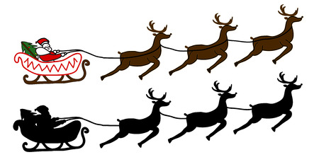 santa sleigh: Santa Claus is flying in a sleigh, Christmas background Illustration