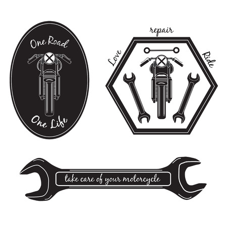 Set of vintage motorcycle labels, on the subject cafe racer.