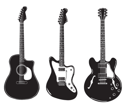 set di chitarre acustiche e chitarre elettriche.