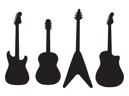 set of acoustic guitars and electric guitars. Vector Illustration