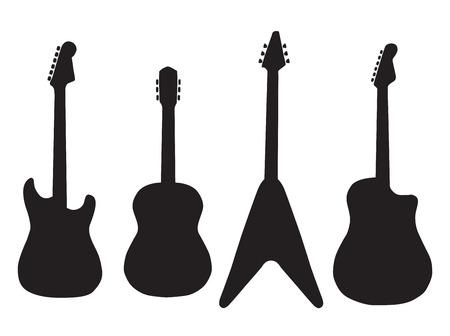 gitara: zestaw gitar akustycznych i elektrycznych gitar. Ilustracja wektora