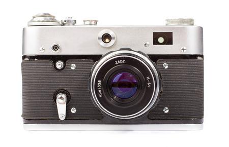 macchina fotografica: Fotocamera retrò isolata su sfondo bianco  Archivio Fotografico