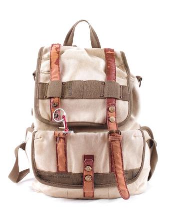 backpack: mochila de viaje aislado en un fondo blanco Foto de archivo