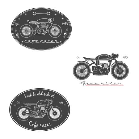 racer: Set of vintage motorcycle labels. cafe racer. Illustration