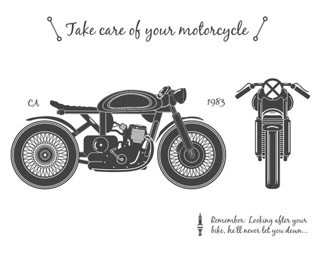 racer: Vintage motorcycle infographic. Cafe racer theme, isolated. vector illustration.