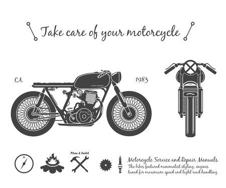 Motocicleta vieja de la vendimia. tema de café racer. ilustración