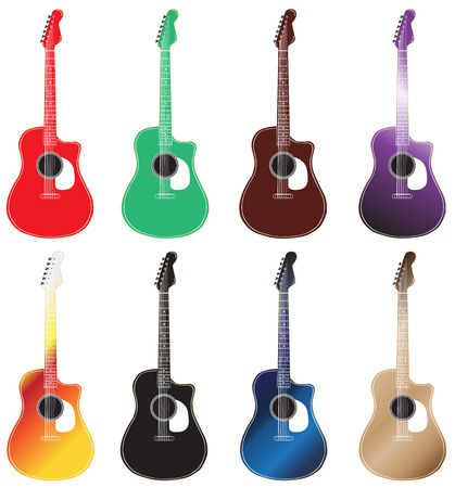 headstock: set of colored acoustic guitars arranged in 2 rows.