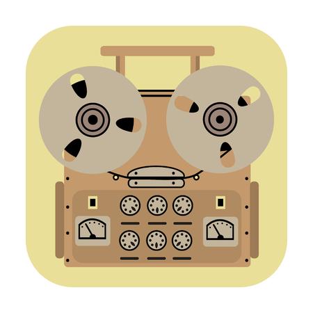grabadora: carrete icono de registrador de cinta sobre fondo amarillo. Vectores