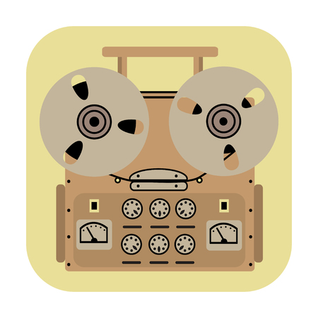 tape recorder: reel tape recorder icon on yellow background.