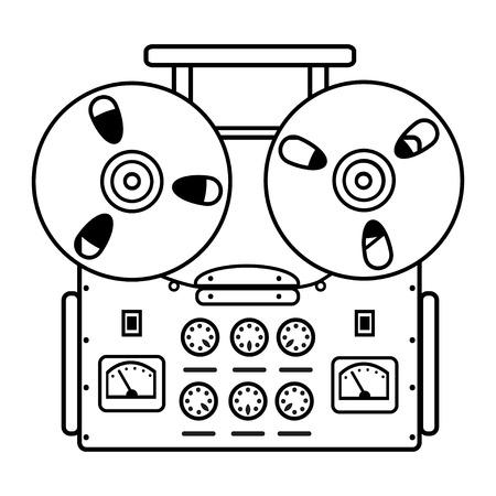 tape recorder: reel tape recorder on white background. illustration. Illustration