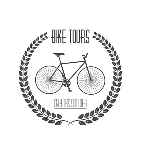Bicycle tours label, Vintage monochrome illustration.