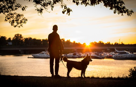 the guy with the dog watching the sunset on the dock